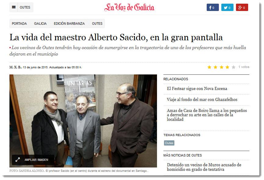 Anuncio pase Unitarias Outes La Voz de Galicia Barbanza